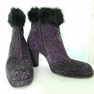 Vintage Bis Charles Jourdan Purple Leopard Boot